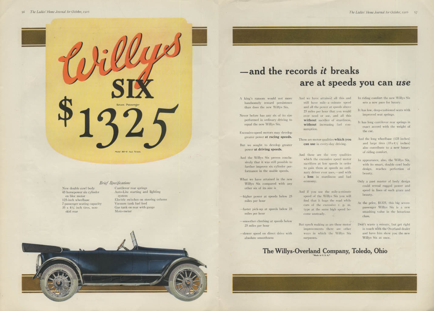 Image for The records it breaks are at speeds you can use Willys Six ad 1917 LHJ