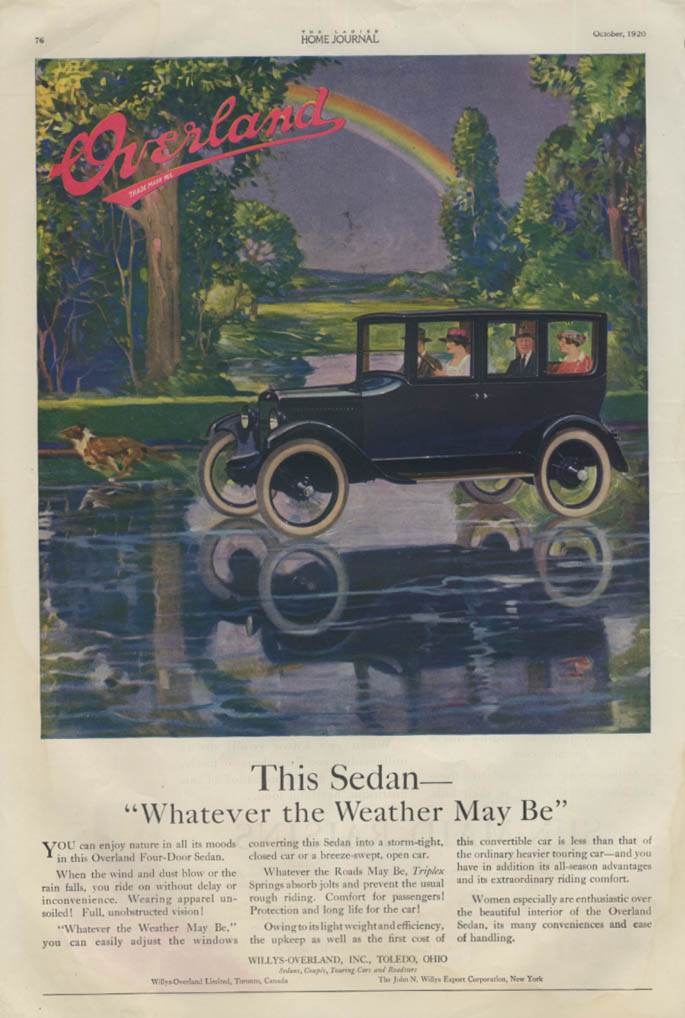Image for This Sedan Whatever the Weather May Be Overland Automobile ad 1920