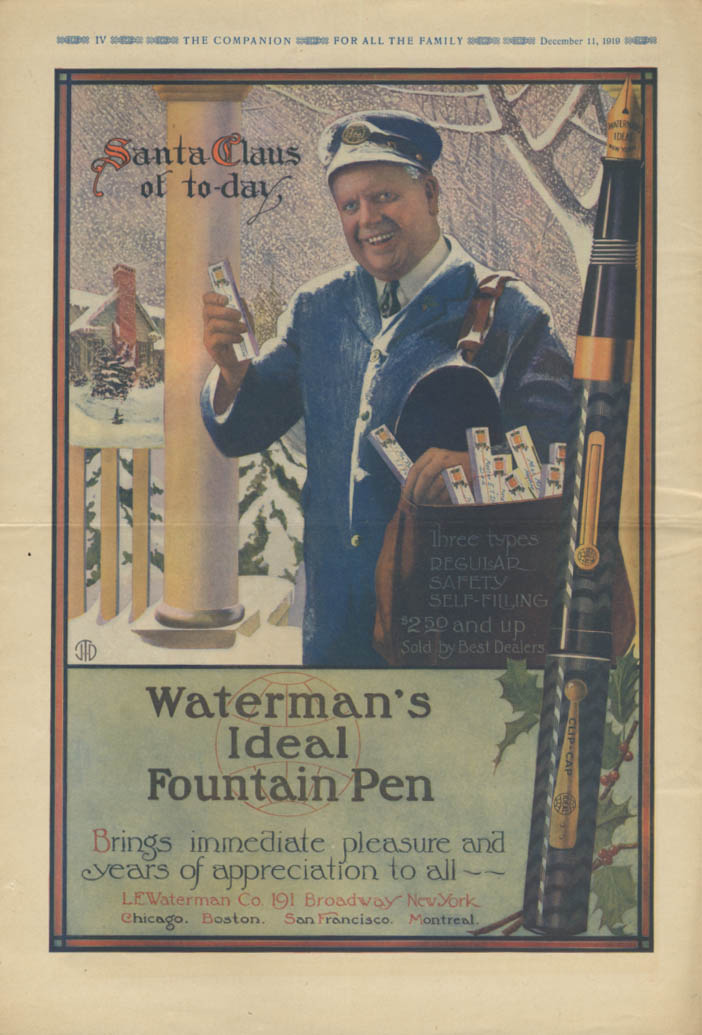 Image for Mailman Santa Waterman Pen / Jell-O League of Nations Party Norman Price ad 1919