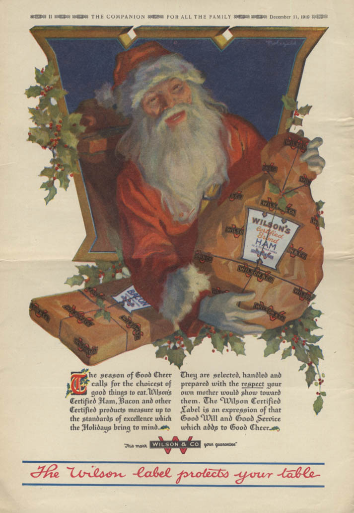 Image for Santa Claus delivers Wilson's Ham and Bacon ad 1919 YC
