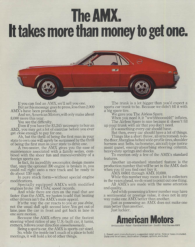 It takes more than money to get one American Motors AMX ad 1968 SEP