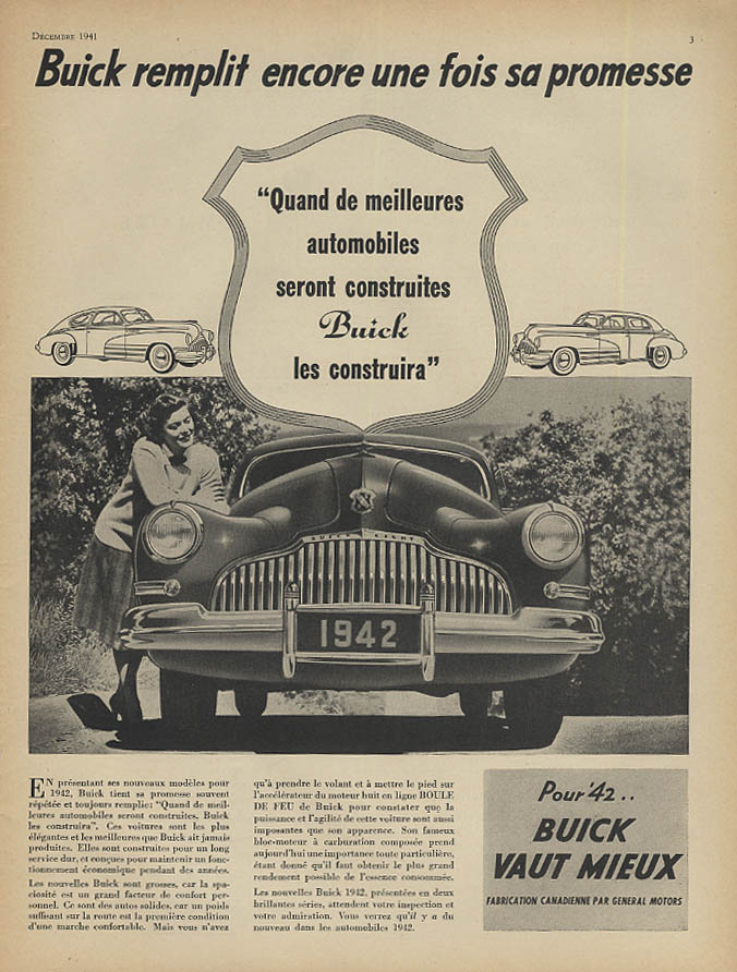 Replit encore use fois sa promesse Buick ad 1942 French Canadian