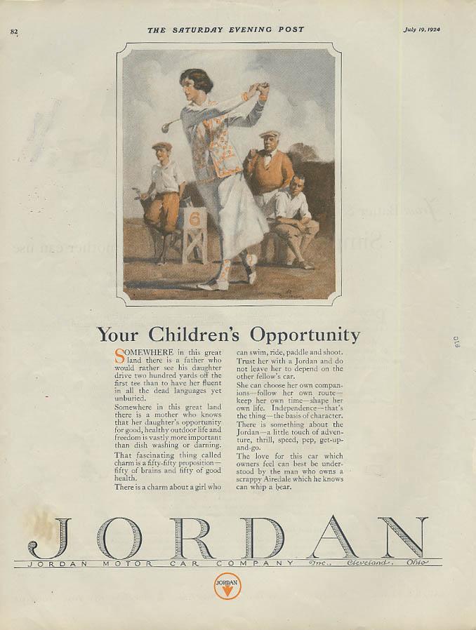Your Children's Opportunity Jordan Motor Car ad 1924 woman golfer