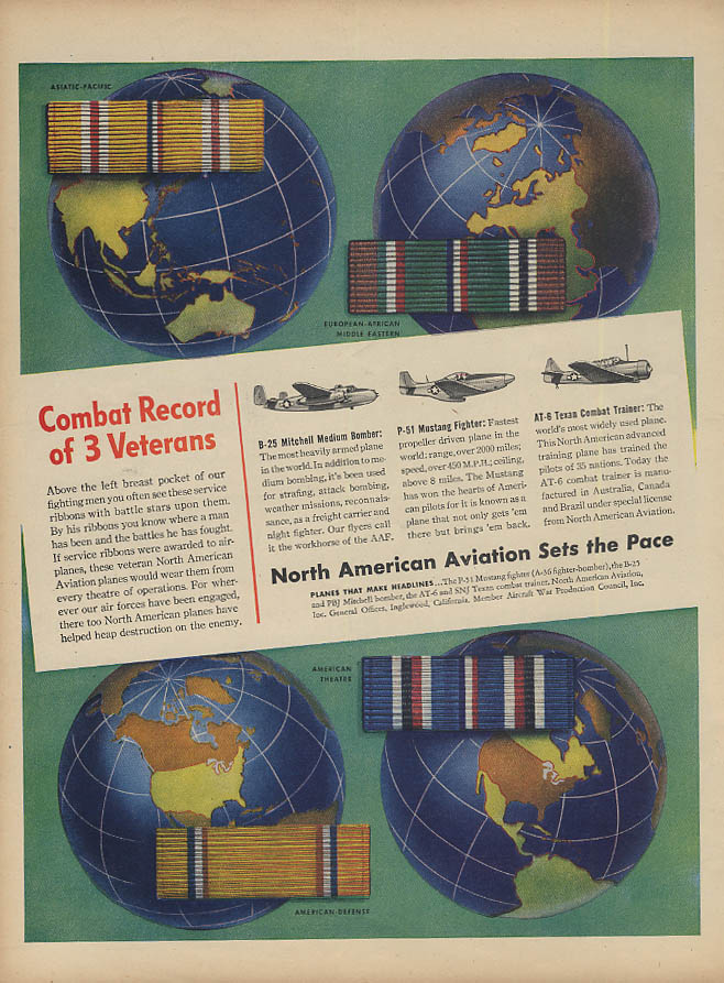 Combat Record of 3 Veterans North American B-25 P-51 AT-6 ad 1945 L