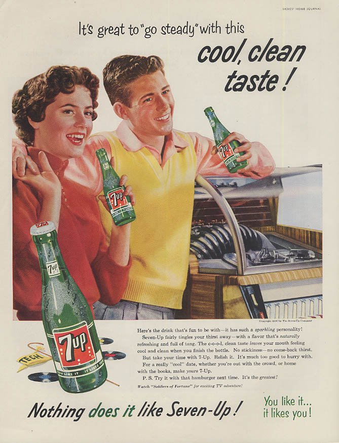 Great to go steady with this cool clean taste 7-Up ad 1954 Jukebox