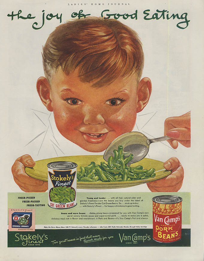 Image for The joy of good eating Van Camp's Green Beans ad 1952 Nat White freckled boy