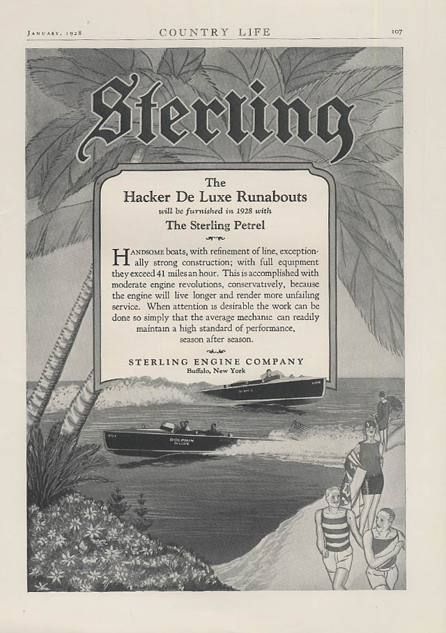 Sterling Engine Company for Hacker De Luxe Runabout Motorboat ad 1928