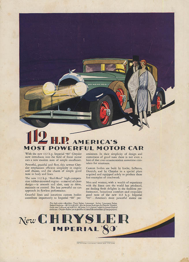 112 HP Chrysler Imperial / Actress Mary Garden Lucky Strike Cigarettes ad 1928