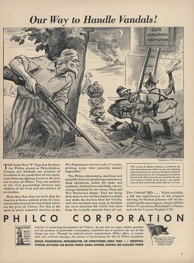 Our Way to Handle Vandals Philco ad 1942 Uncle Sam vs Hitler Mussolini Tojo