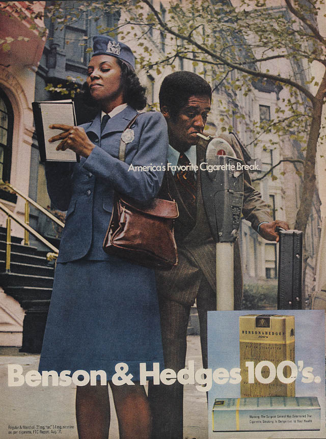 America's Favorite Cigarette Break Benson & Hedges ad 1972 Negro metermaid