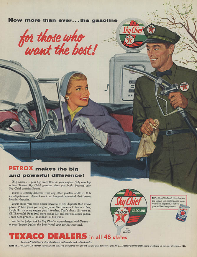 For those who want the best Texaco Gasoline ad 1955 pretty girl & attendant