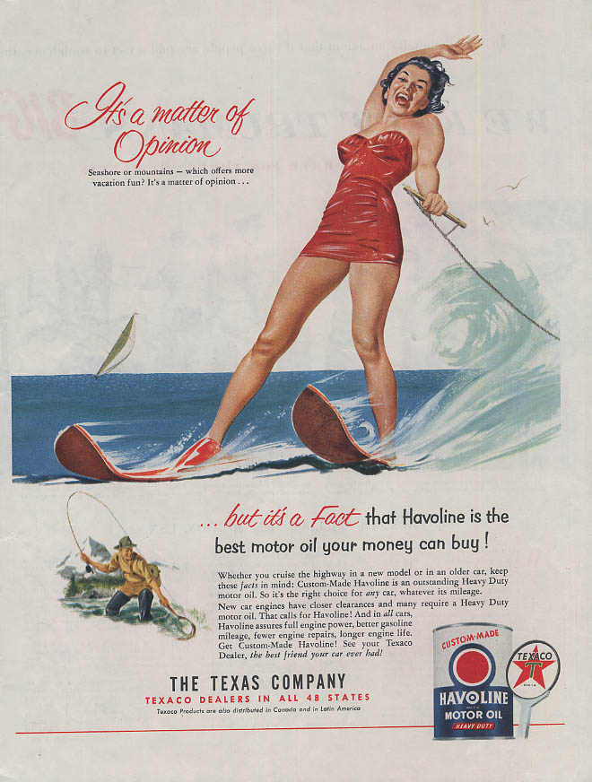It's a matter of Opinion Texaco Havoline Motor Oil ad 1953 girl water skiing COL