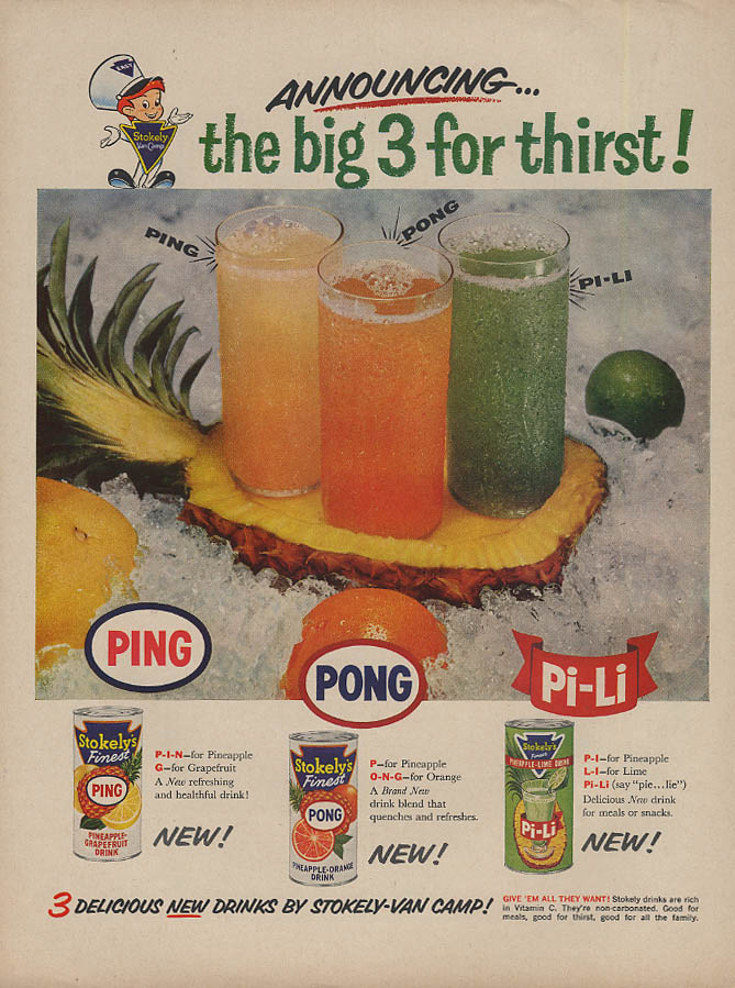 Announcing Stokely's Ping, Pong & Pi-Li fruit drinks ad 1959 L