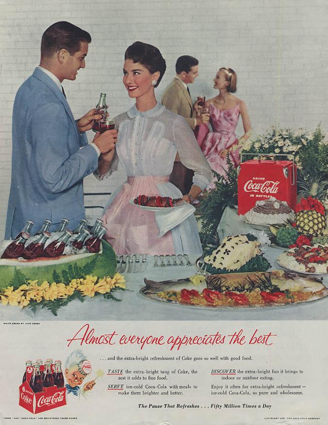 Almost everyone appreciates the best Coca-Cola ad 1955 dinner party cooler COL