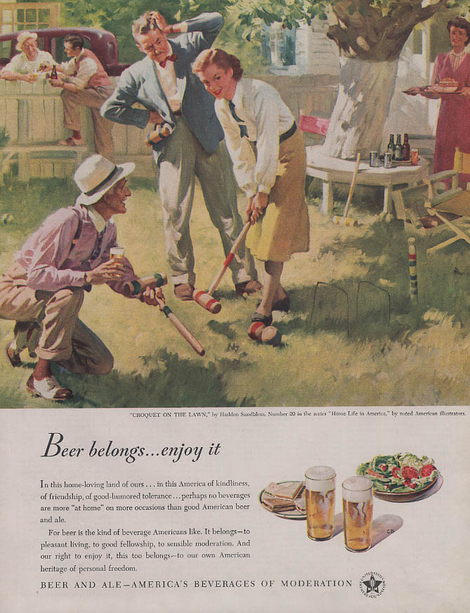 Croquet on the Lawn by Haddon Sundblom Beer Belongs ad 1948 COL