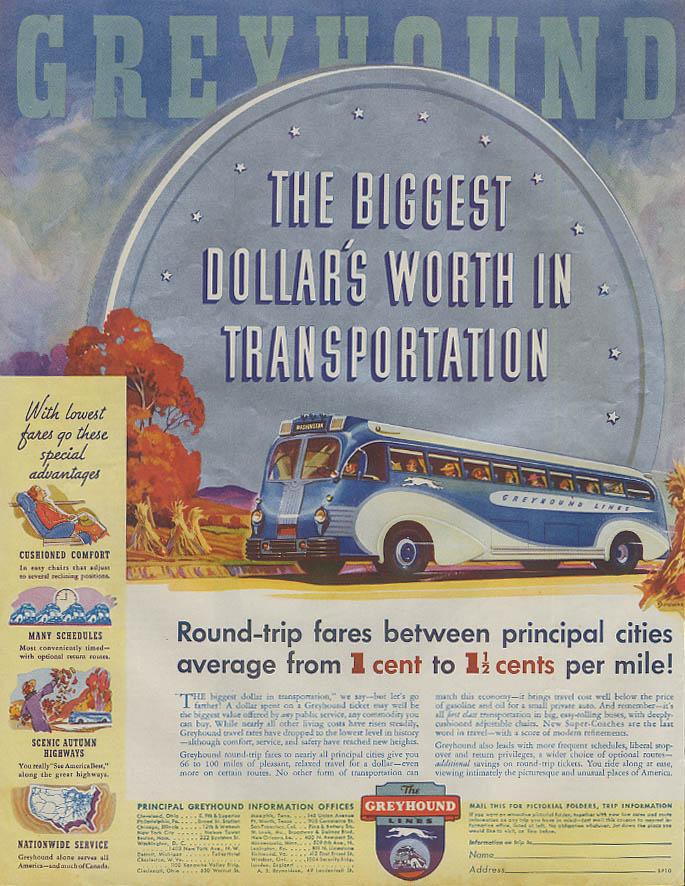Biggest Dollar's Worth in Transportation Greyhound Bus ad 1936 SEP