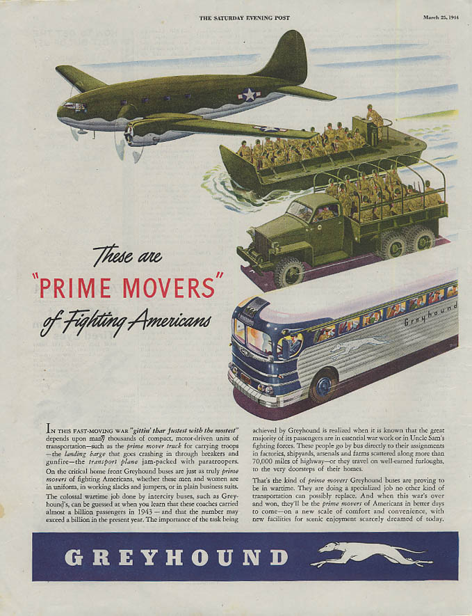 Image for Prime Movers of Fighting Americans Greyhound Bus C-46 LST 6x6 ad 1944 SEP
