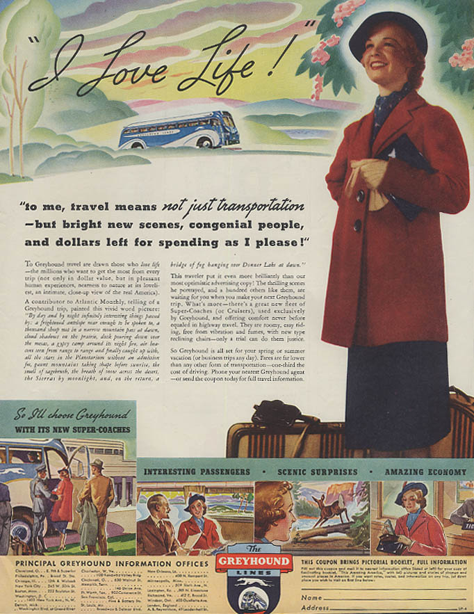 I Love Life! Travel means Greyhound Bus ad 1937 SEP