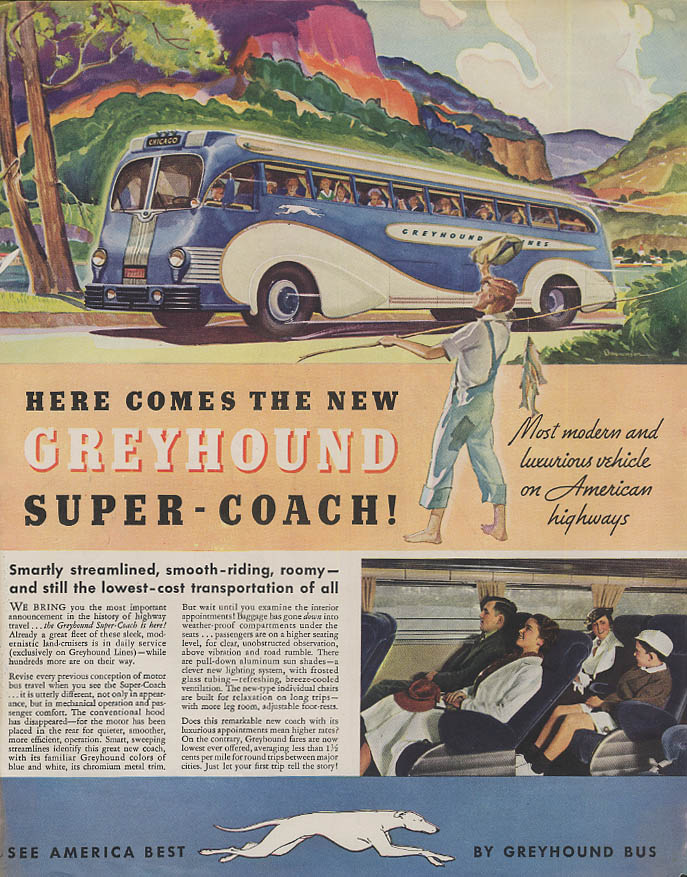 Greyhound Super-Coach / Collier's COVER dog ate bathing beauty's hat ad 1936