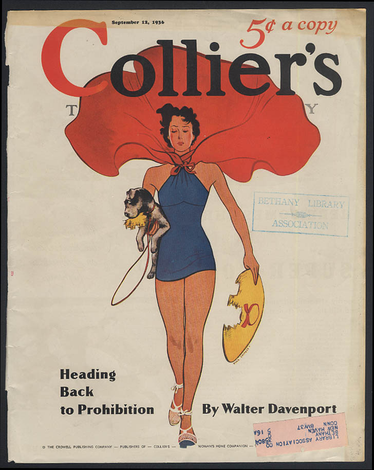 Image for Greyhound Super-Coach / Collier's COVER dog ate bathing beauty's hat ad 1936