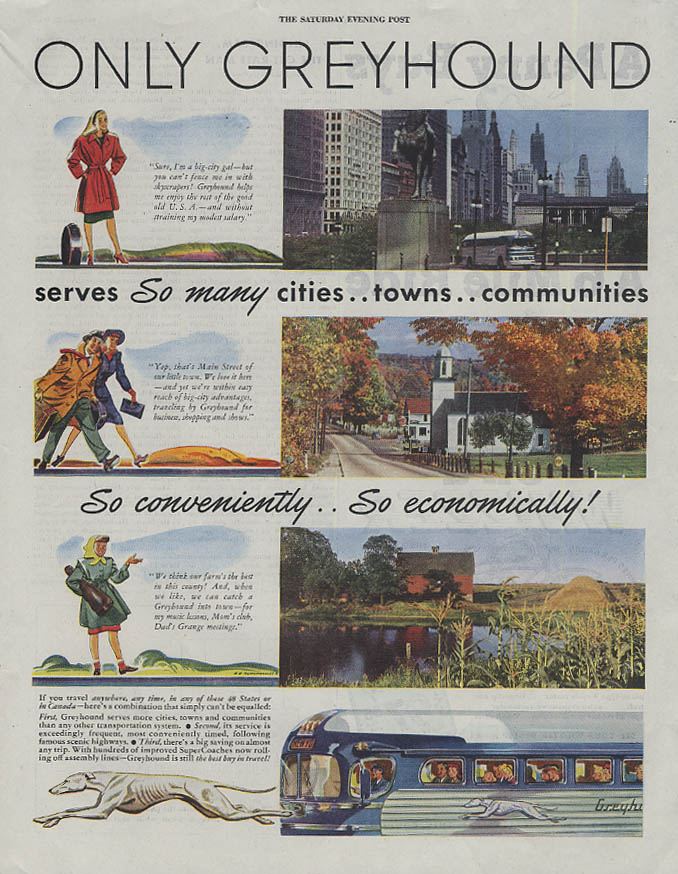 Only Greyhound Bus serves so many so conveniently so economically ad 1947 SEP