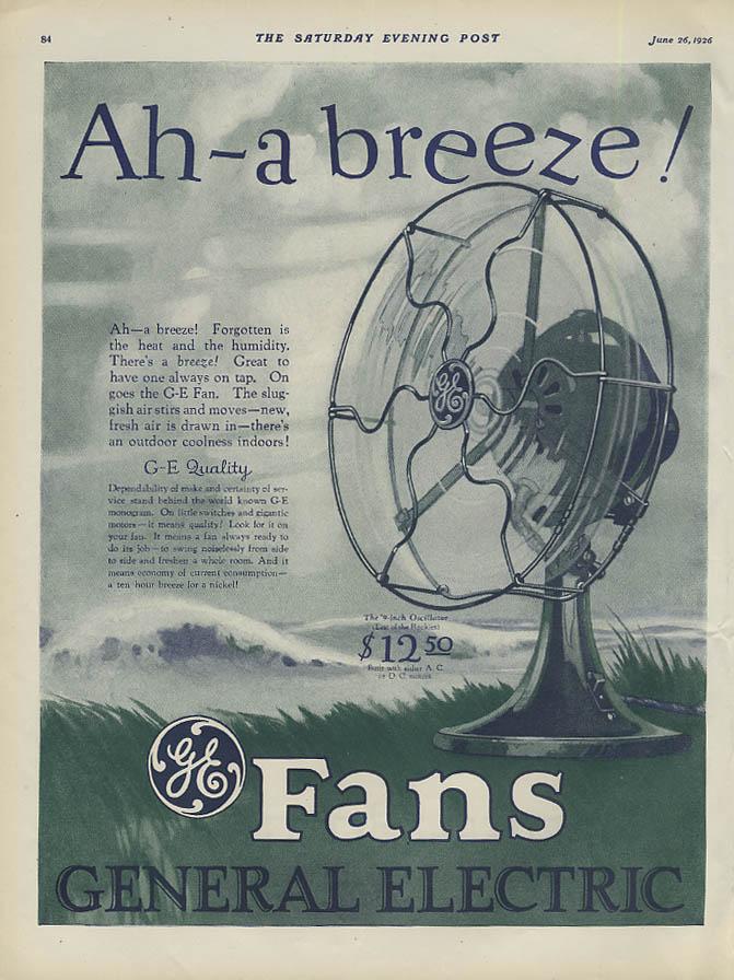 Ah - a breeze! General Electric 9-inch Oscillator Fan MAGAZINE AD 1926 SEP