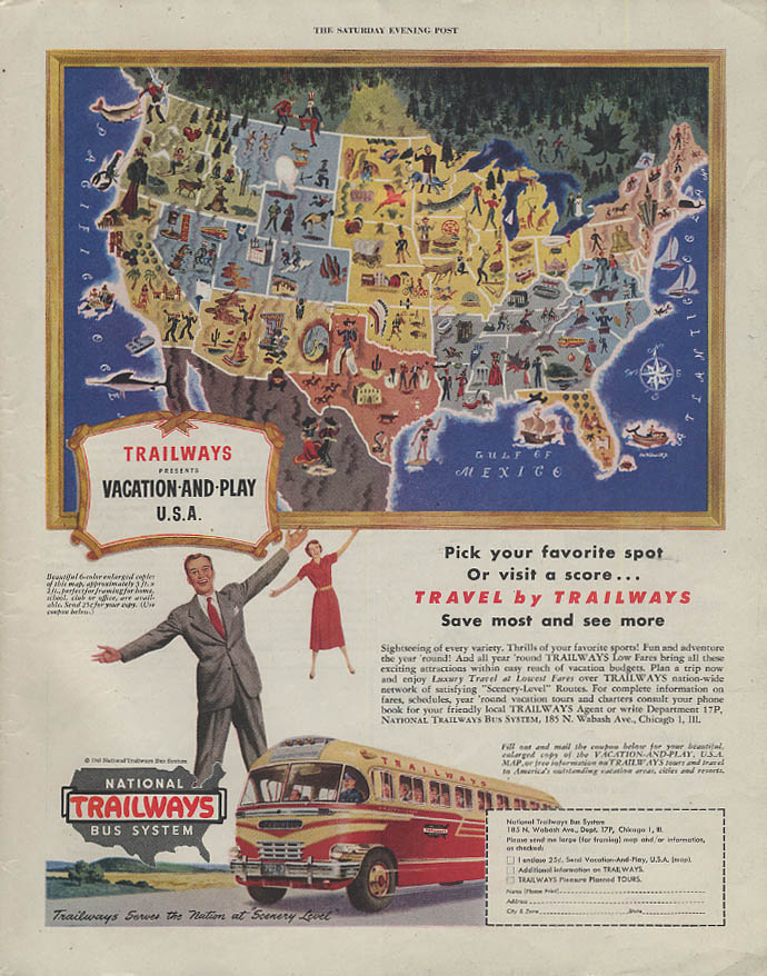 Pick your favorite spot Travel by Trailways Bus ad 1949 SEP