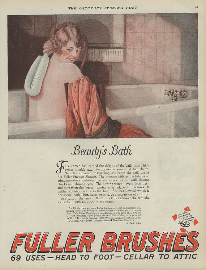 Beauty's Bath - Fuller Brush ad 1924 nude woman smiling  in the tub SEP