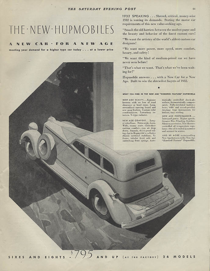 A new car for a new age The New Hupmobile Six & Eight ad 1932 SEP