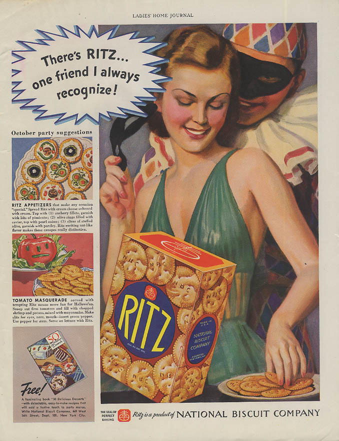 Image for One friend I always recognize Ritz Crackers ad 1937 costume party LHJ