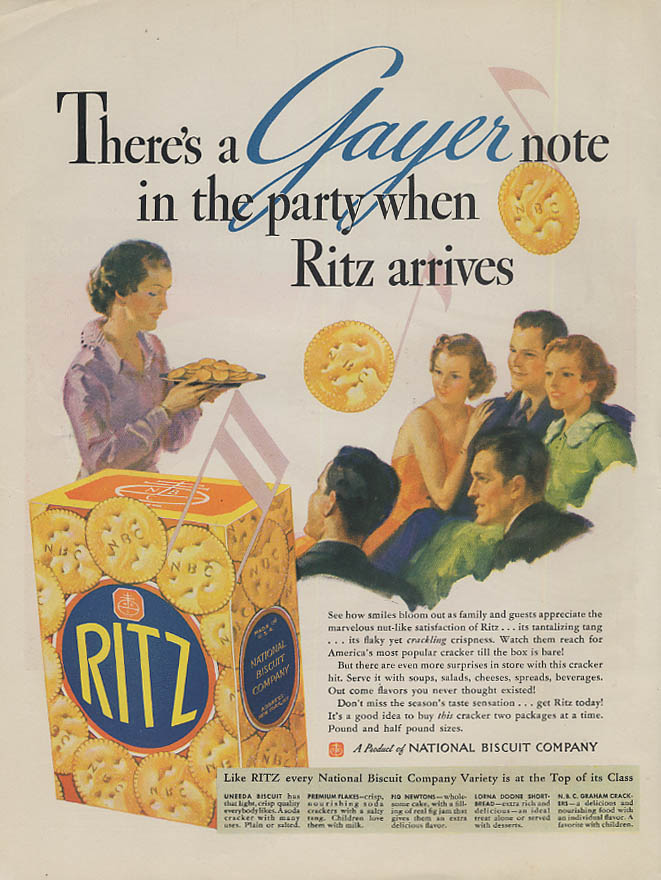 Image for There's a Gayer note in the party when Ritz Crackers arrive ad 1936 McC