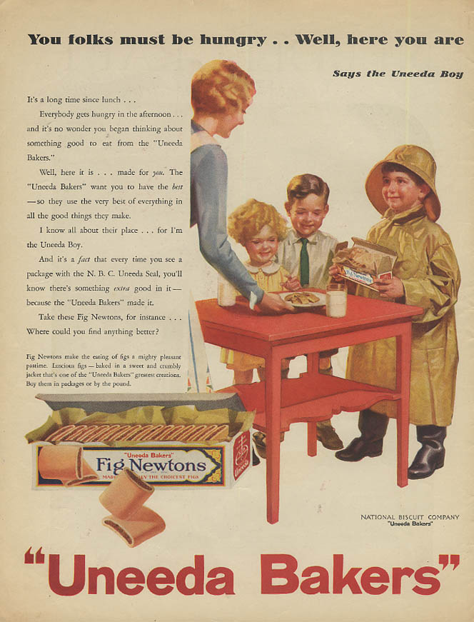 Image for You folks must be hungry Uneeda Bakers Fig Newtons ad 1930 Nabisco