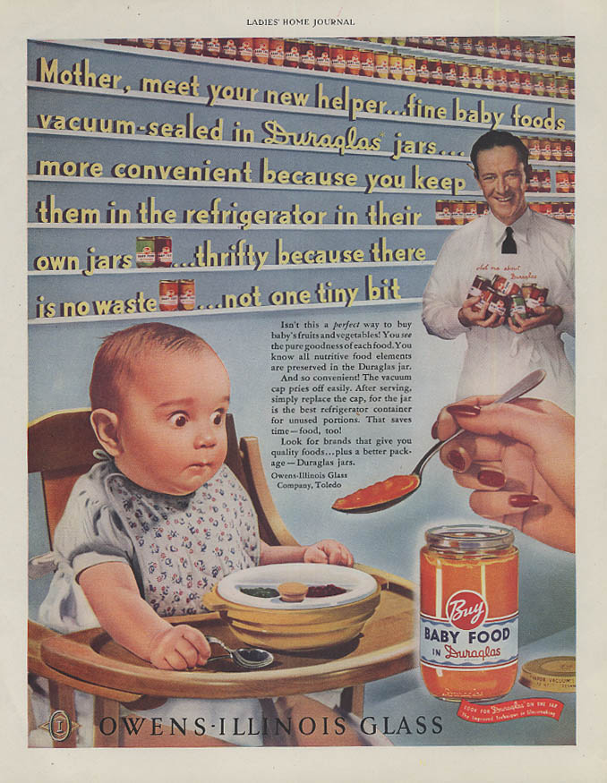 Image for Mother meet your new helper Duraglas Owens-Illinois Jars ad 1942 bug-eyed baby