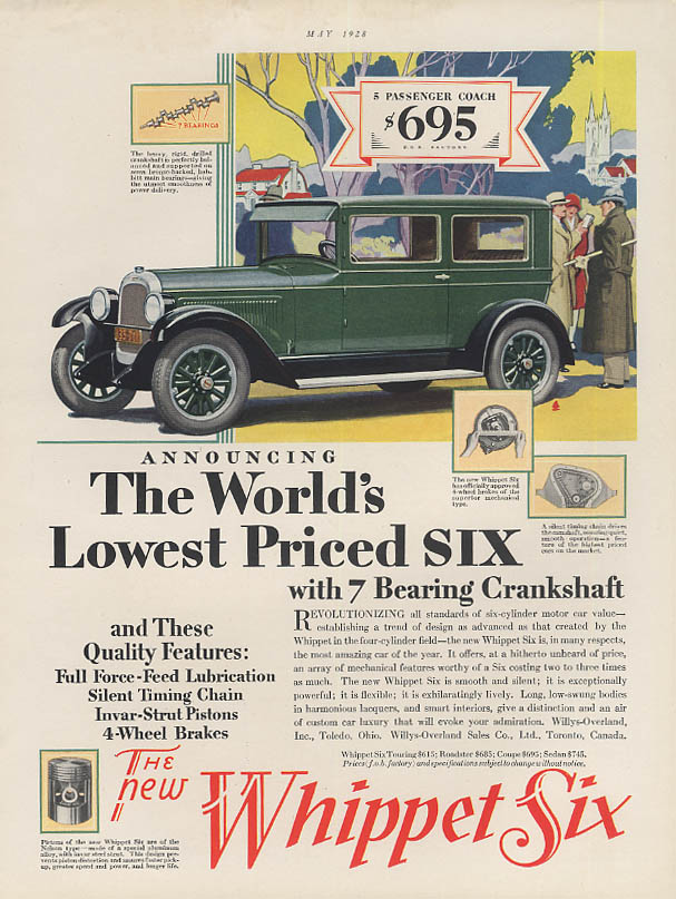 Image for The World's Lowest Prioed Six -- Willys Whippet ad 1928 HB