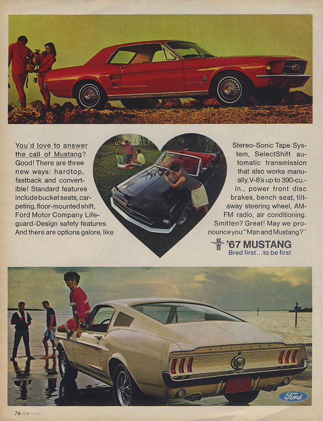 Image for You'd love to answer the call of Mustang? Hardtop convertible fastback ad 1967 K
