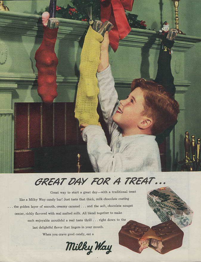 Great Day for a Treat! Milky Way Candy Bar ad 1947 kid stuffs Christmas stocking