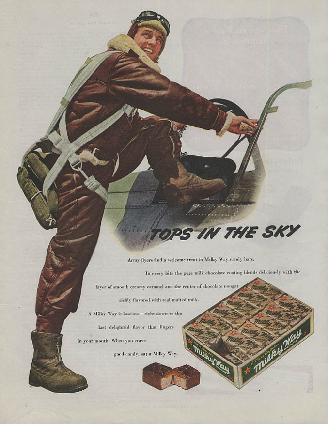 Tops in the Sky Milky Way Candy Bar ad 1944 fighter pilot gets in cockpit