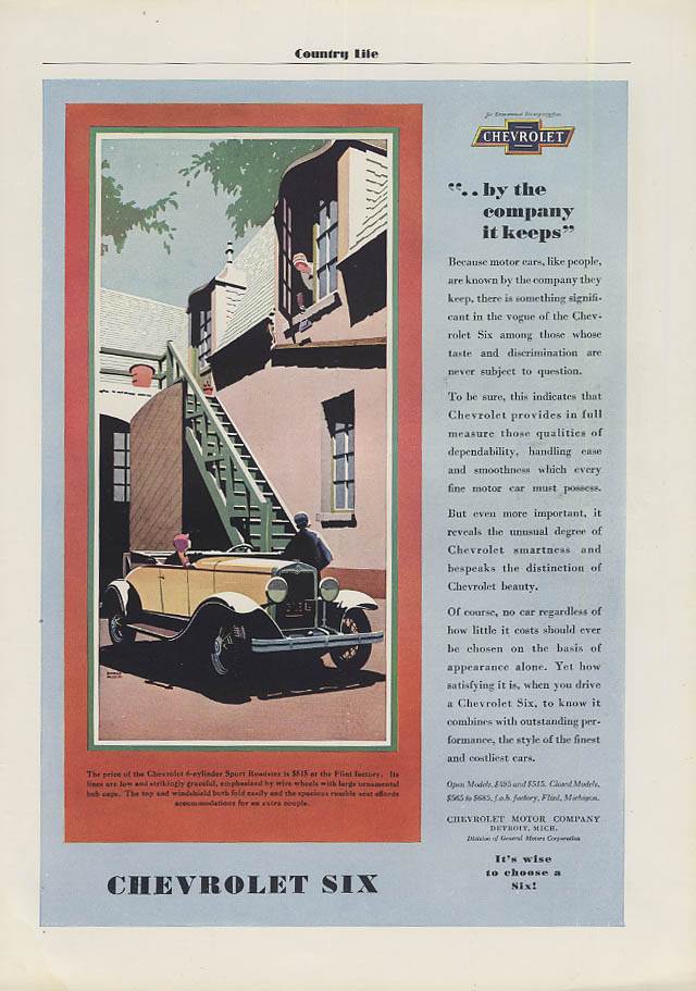 By the company it keeps Chevrolet Sport Roadster ad 1930 CL