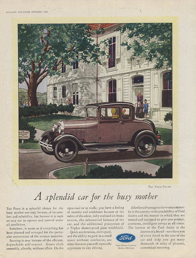 A splendid car for the busy mother Ford Model A Coupe ad 1929 McC