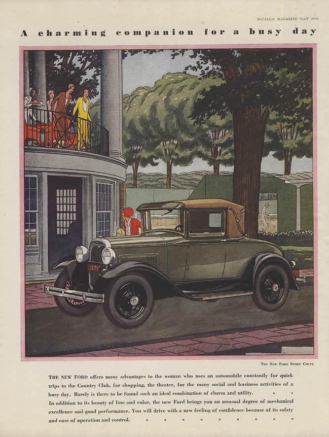 A charming companion for a busy day Ford Model A Sport Coupe ad 1930 McC