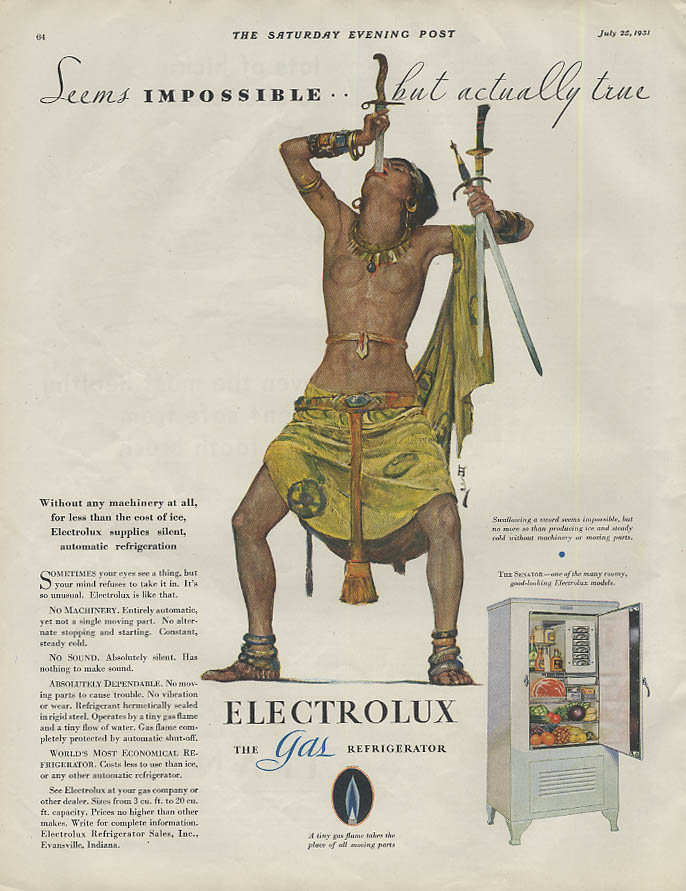 Seems impossible Electrolux Refrigerator ad 1931 topless lady sword swallower
