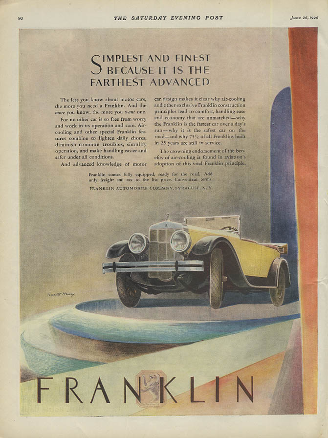 Simplest & finest because it is farthest advanced Franklin Phaeton ad 1926 SEP