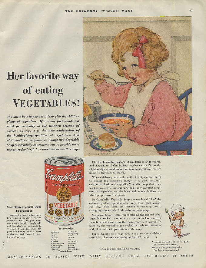 Her favorite way eating vegetables Campbell's Soup ad 1931 Jessie Willcox Smith