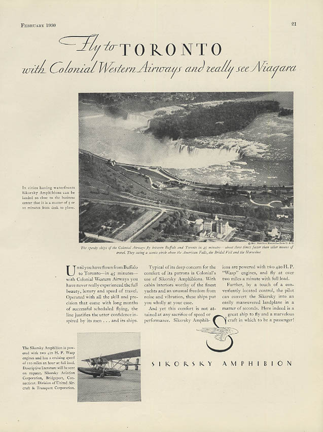 Fly to Toronto with Colonial Western Airways Sikorsky Amphibion ad 1930