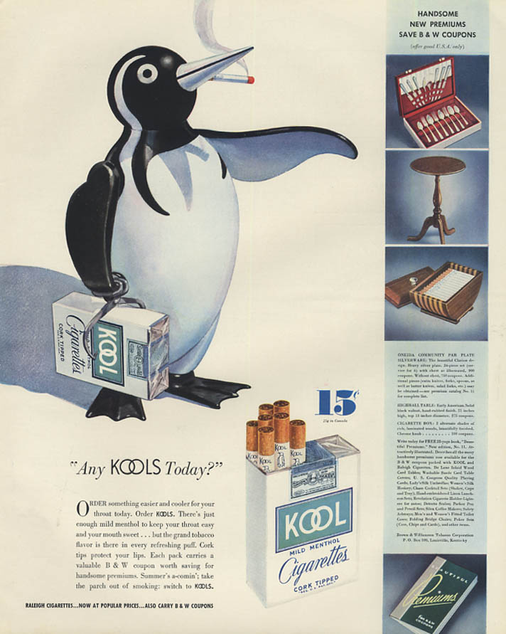 Any Kools today? Smoking penguin Kool Cigarettes ad 1936 F