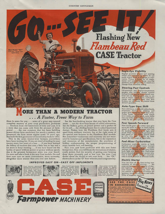 Go - See it! Flashing New Case Flambeau Red Tractor ad 1939 CG