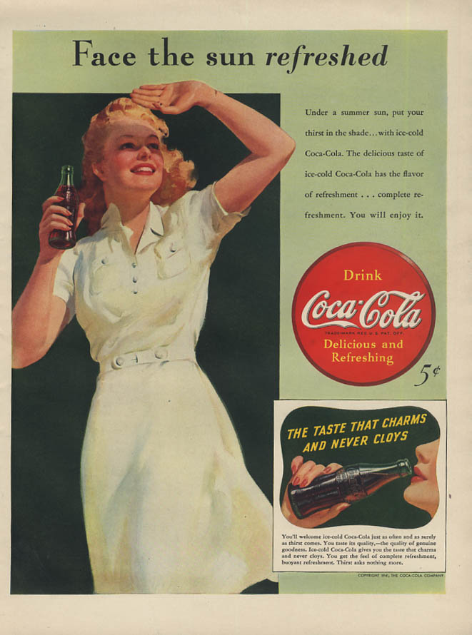 Face the sun refreshed - Coca-Cola ad 1941 blonde shades her eyes