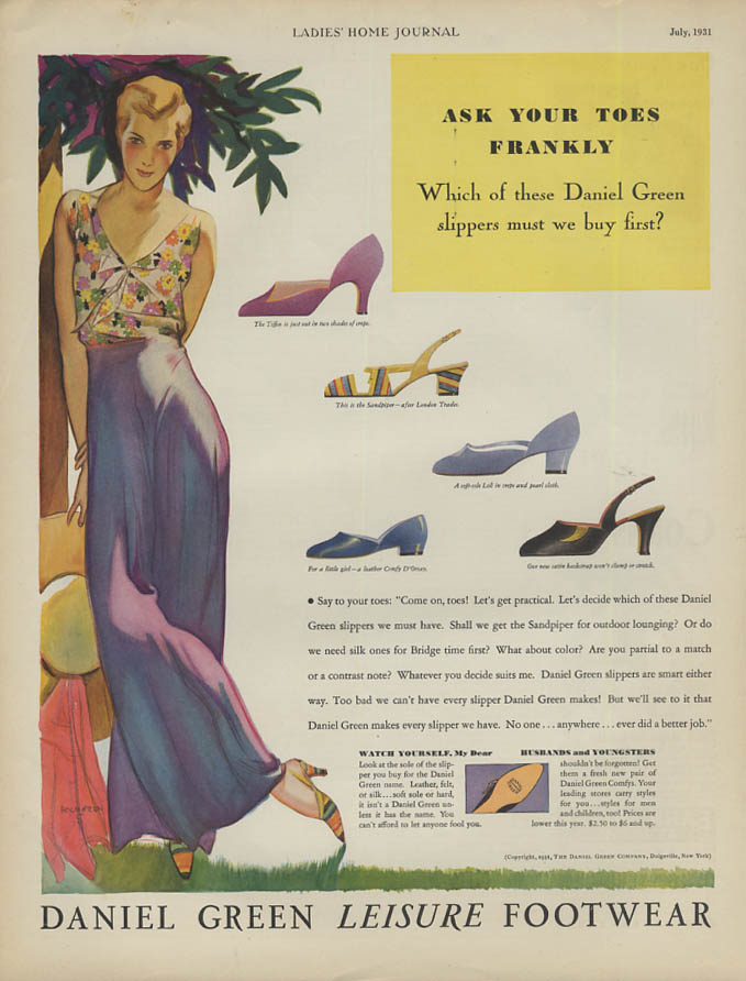 Ask Your Toes Frankly Daniel Green Leisure Footwear ad 1931 Holmgren pin-up