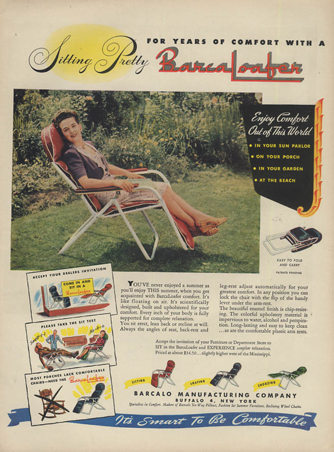 Sitting Pretty - Years of Comfort with a BarcaLoafer Lawn Chair ad 1947 L
