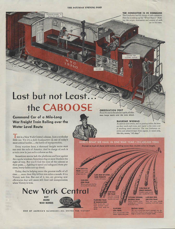 Last but not least - the Caboose New York Central RR ad 1943 SEP